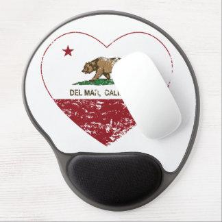 california flag del mar heart distressed gel mouse pad
