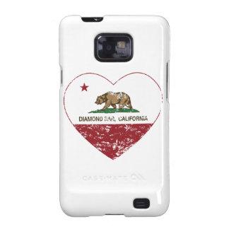 california flag diamond bar heart distressed samsung galaxy SII covers