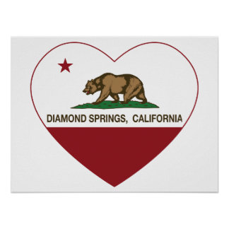 california flag diamond springs heart print