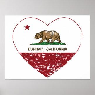 california flag durham heart distressed print