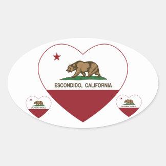 california flag escondido heart oval sticker