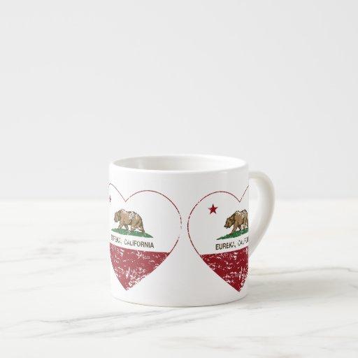 california flag eureka heart distressed espresso cup