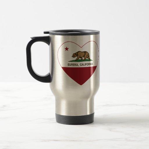 california flag eureka heart coffee mugs