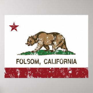 california flag folsom distressed poster