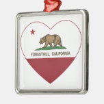 california flag foresthill heart christmas ornaments