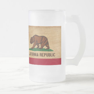 California Flag Frosted Glass Beer Mug