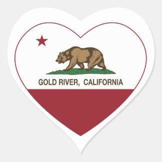 california flag gold river heart heart sticker