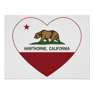 california flag hawthorne heart print
