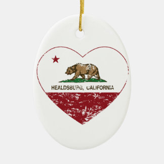 california flag healdsburg heart distressed christmas ornament