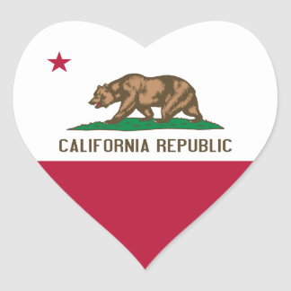 California Flag Heart Sticker