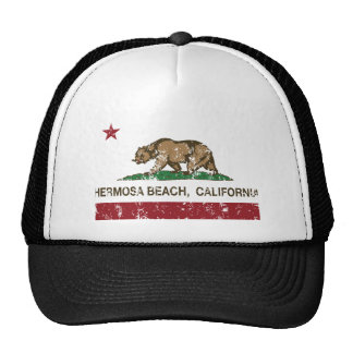 california flag hermosa beach distressed cap