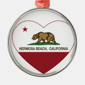 california flag hermosa beach heart christmas ornament