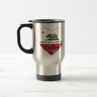 california flag hermosa beach heart distressed travel mug