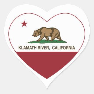 california flag klamath river heart sticker