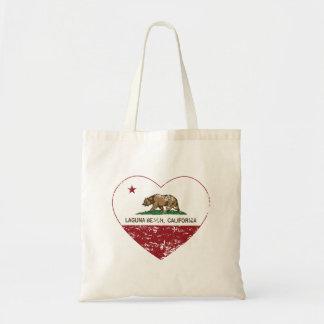 california flag laguna beach heart distressed tote bag