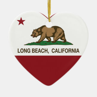 california flag long beach heart christmas ornament
