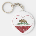 california flag long beach heart distressed basic round button key ring
