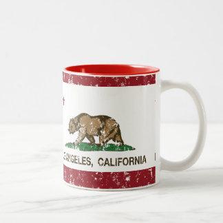 california flag los angeles distressed mug