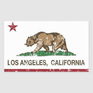 california flag los angeles distressed rectangular sticker