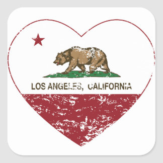 california flag los angeles heart distressed square sticker