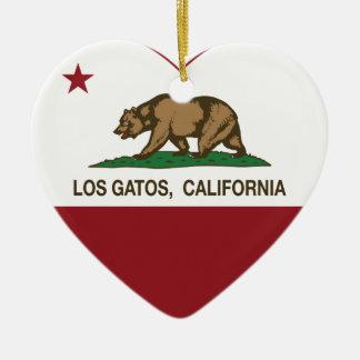 california flag los gatos heart christmas ornament