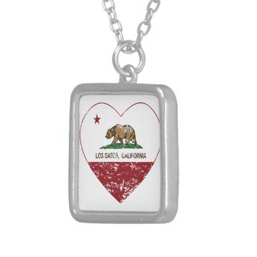 california flag los gatos heart distressed pendant