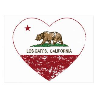 california flag los gatos heart distressed postcard