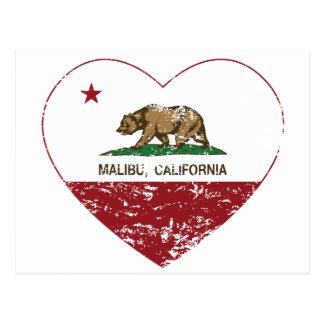 california flag malibu heart distressed postcard