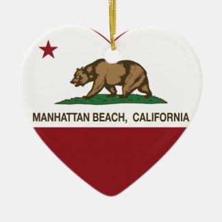 california flag manhattan beach heart christmas ornament
