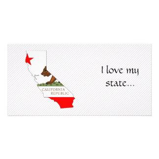California Flag Map Customized Photo Card