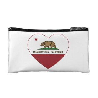 california flag meadow vista heart cosmetic bag