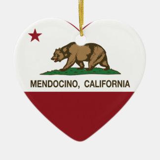 california flag mendocino heart christmas ornament