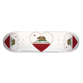 california flag mission viejo heart 18.1 cm old school skateboard deck