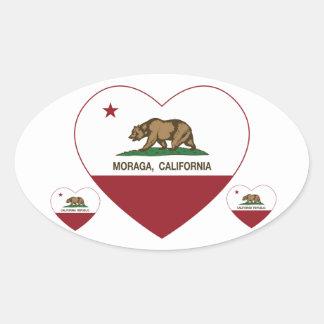 california flag moraga heart oval sticker