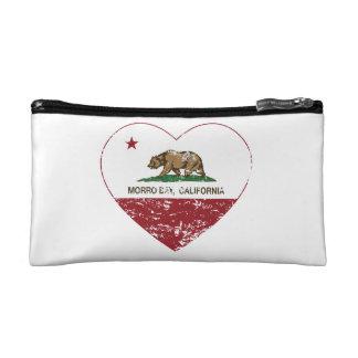 california flag morro bay heart distressed makeup bag
