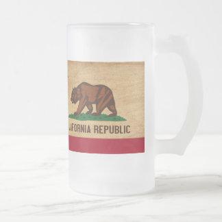 California Flag Frosted Glass Mug