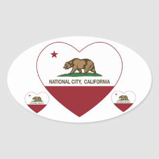 california flag national city heart oval sticker