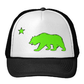 California flag neon green bear hat