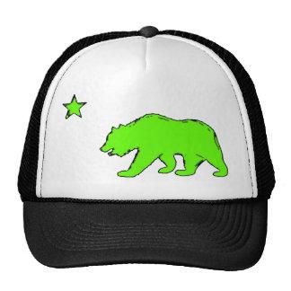 California flag neon green bear hat