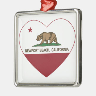 california flag newport beach heart Silver-Colored square decoration