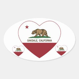 california flag oakdale heart oval stickers