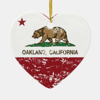 california flag oakland heart distressed ceramic heart decoration