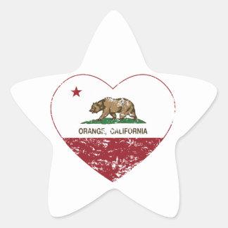 california flag orange heart distressed sticker