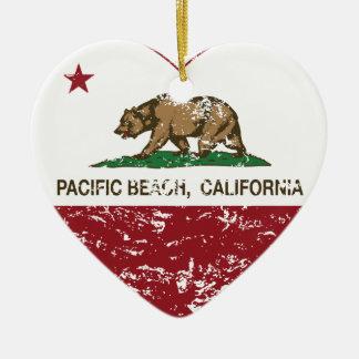 california flag pacific beach heart distressed ceramic heart decoration