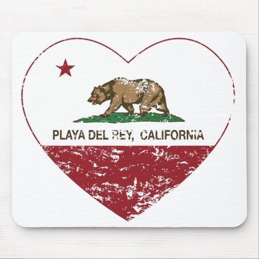 california flag playa del rey heart distressed mousepads