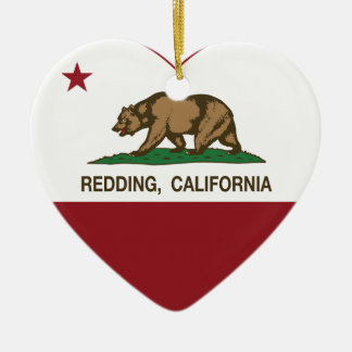 california flag redding heart christmas ornament