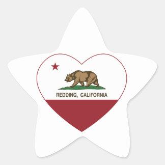 california flag redding heart star sticker