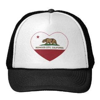 california flag redwood city heart trucker hat