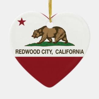 california flag redwood city heart christmas ornament