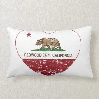 california flag redwood city heart distressed throw pillows